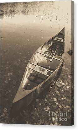 Canoe Canvas Print - Old Canoe On A Lake Eastman Pond Grantham New Hampshire by Edward Fielding
