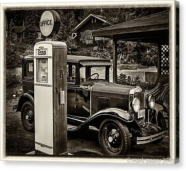 Old Car @ Gas Station Canvas Print