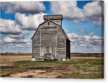 Old Car And Barn Canvas Print by Scott Nelson