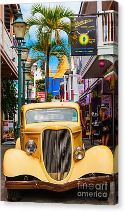 Old Car On Old Street Canvas Print by Diane Macdonald