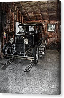 Old Car Snow Ski Canvas Print by Joanne Coyle