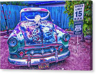 Old Car With Steer Skull Canvas Print