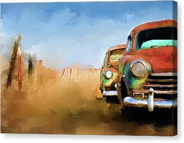 Old Cars Rusting Painting Canvas Print by Michael Greenaway