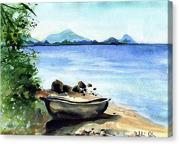 Canvas Print featuring the painting Old Carved Boat At Lake Malawi by Dora Hathazi Mendes