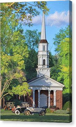 Martha Mary Chapel Canvas Print - Old Chapel On The Green by Susan Rissi Tregoning