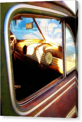 Canvas Print featuring the photograph Old Chevrolet Dashboard by Glenn McCarthy Art and Photography