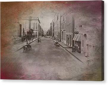 Old Chicago 01 Street View Textured Canvas Print by Thomas Woolworth