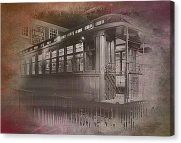 Old Chicago 06 Trains Textured Canvas Print by Thomas Woolworth