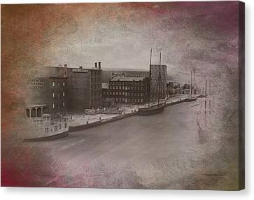 Old Chicago 11 River View Textured Canvas Print by Thomas Woolworth