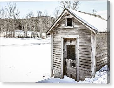 Old Chicken Coop In Winter Canvas Print by Edward Fielding