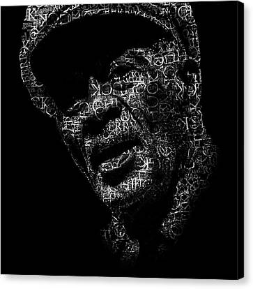 Rhythm And Blues Canvas Print - Old Chuck Berry Text Portrait - Typographic Face Poster With The Name Of Chuck Berry Albums by Jose Elias - Sofia Pereira