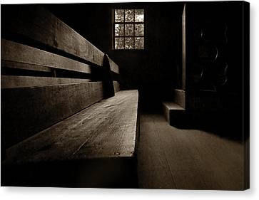 Old Church - Pew - Sepia Canvas Print