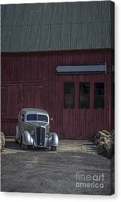 Autumn Soup Canvas Print - Old Classic Car At The Barn by Edward Fielding