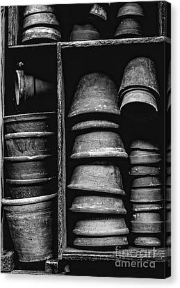 Canvas Print featuring the photograph Old Clay Pots by Edward Fielding