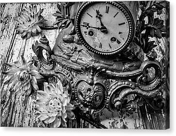 Clock Hands Canvas Print - Old Clock And Dahlias by Garry Gay