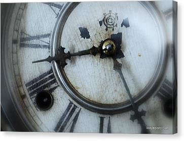 Old Clock Face Canvas Print by Lois Lepisto