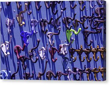 Old Clothes Hooks Canvas Print by Garry Gay
