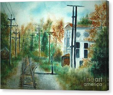 Old Cn Station Fort Langley Bc Canvas Print by Vivian  Mosley