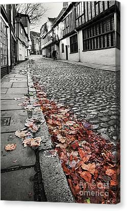 Old Cobbled Street Black And White Canvas Print by Simon Bratt Photography LRPS