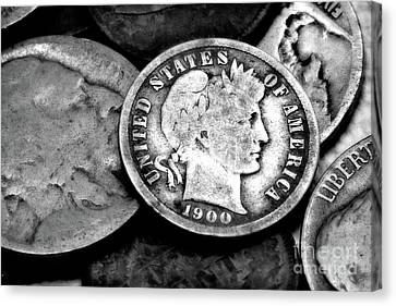 Old Coins In Black And White  Canvas Print by Randy Steele