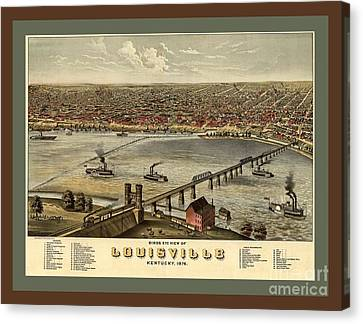 Old Collectable Poster Map Of Louisville Kentucky Canvas Print by Pd