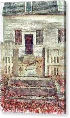 Old Colonial Home Shaker Village Pencil Canvas Print