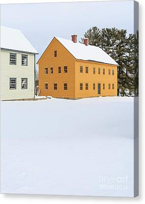 Old Colonial Wood Framed Houses In Winter Canvas Print by Edward Fielding
