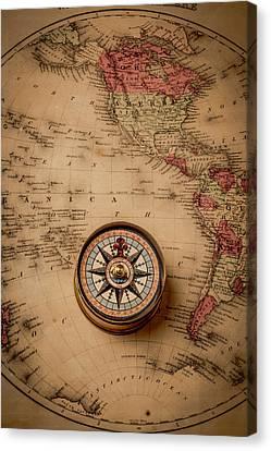 Old Compas On Antique Map Canvas Print