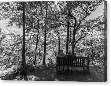Shoreline Old Men Canvas Print - Old Couple On The Bench By The Lake by Iordanis Pallikaras