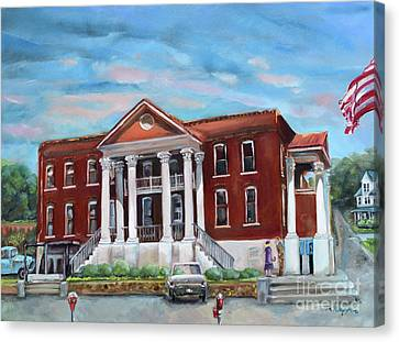 Canvas Print featuring the painting Old Courthouse In Ellijay Ga - Gilmer County Courthouse by Jan Dappen