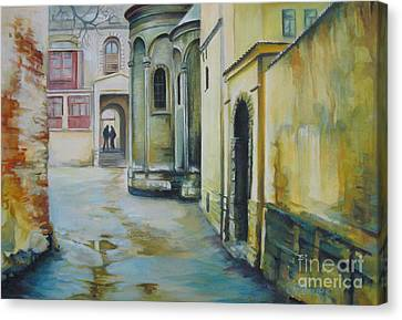 Canvas Print featuring the painting Old Courtyard by Elena Oleniuc