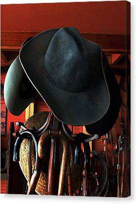 Canvas Print featuring the photograph Old Cowboys Never Die by Irma BACKELANT GALLERIES