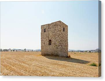 Old Cube-shaped Building In The Field Canvas Print