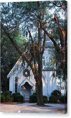 Canvas Print featuring the photograph Old Cypress Church by Margaret Palmer
