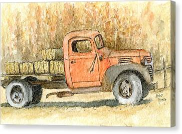 Old Dodge Truck In Autumn Canvas Print