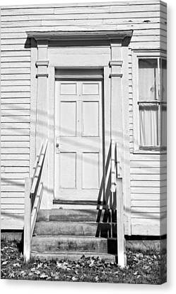 Old Door And Steps Black And White Photo Canvas Print by Keith Webber Jr