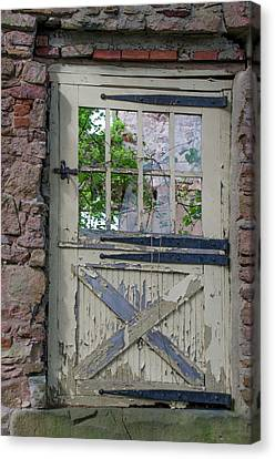 Canvas Print featuring the photograph Old Door From Bridgetown Millhouse Bucks County Pa by Bill Cannon