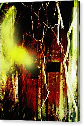 Old Door Ghost Halloween Scary Card Print Canvas Print by Kathy Daxon