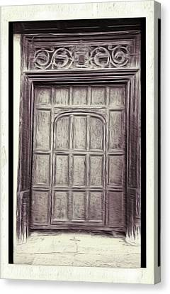 Medieval Entrance Canvas Print - Old Door Painting by Tom Gowanlock