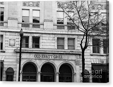 Old Ebbitt Grill Facade Black And White Canvas Print