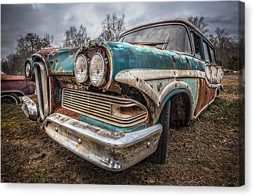 Old Edsel Canvas Print by Debra and Dave Vanderlaan