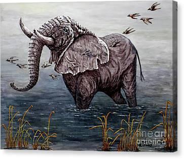 Old Elephant Canvas Print by Judy Kirouac