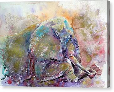 Old Elephant Canvas Print by Kovacs Anna Brigitta