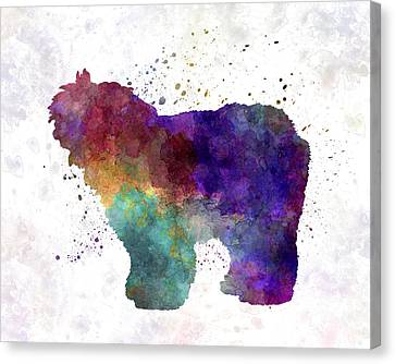 Old English Sheepdog Bobtail In Watercolor Canvas Print