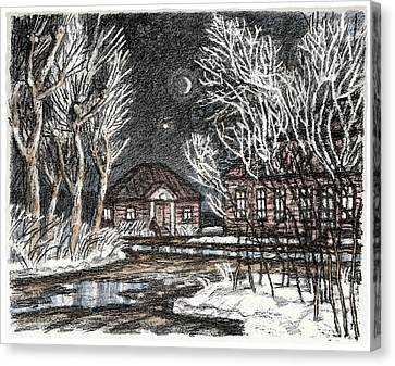 Old Europe In Stone Lithography. Frosty Night In Early Spring. Wooden Barracks On Dirt Road Canvas Print by Elena Abdulaeva