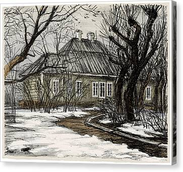 Old Europe In Stone Lithography. Wooden House And Garden With Trimmed Trees In Early Spring Canvas Print by Elena Abdulaeva