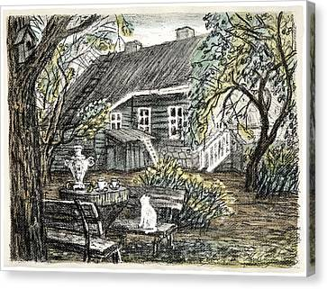 Old Europe In Stone Lithography. Young Green Leaves On Garden Trees, Samovar, White Cat On Bench Canvas Print by Elena Abdulaeva