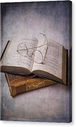 Book Collecting Canvas Print - Old Eyeglasses And Books by Garry Gay