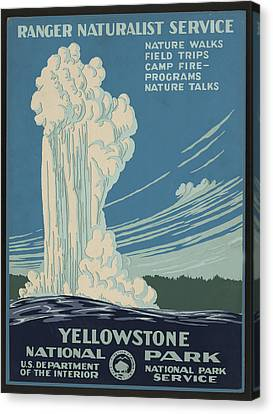 Old Faithful At Yellowstone Canvas Print by Unknown