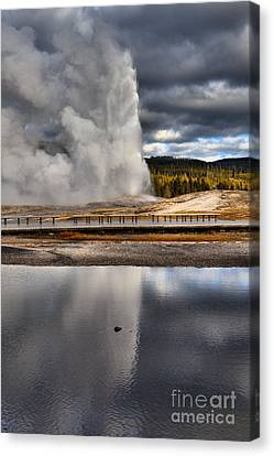 Old Faithful Under The Storm Clouds Canvas Print by Adam Jewell